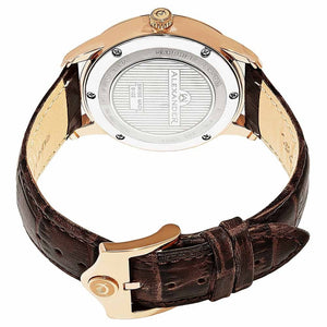 Alexander Mens Quartz Watch with Rose Gold Tone Stainless Steel Case on Brown Embossed Genuine Leather Strap, Silver-patterned Dial