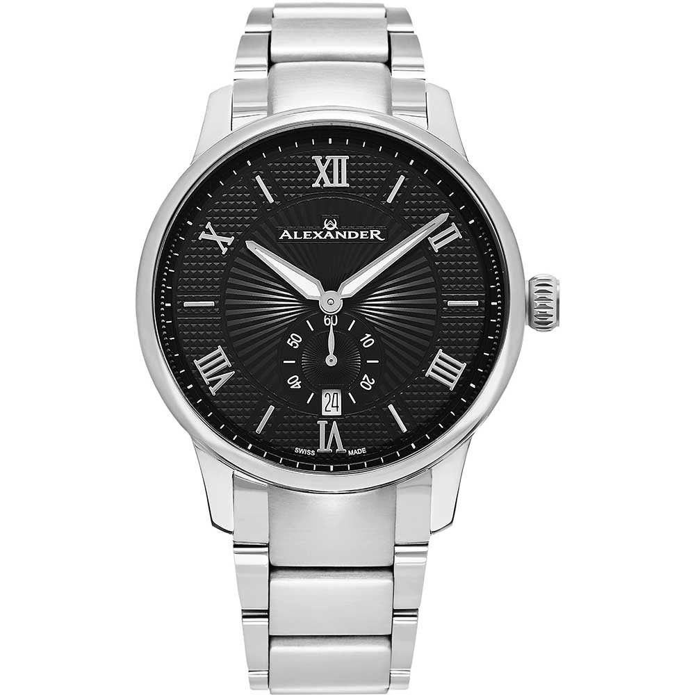 Alexander Mens Quartz Watch with Stainless Steel Case on Stainless Steel bracelet, Black-patterned Dial