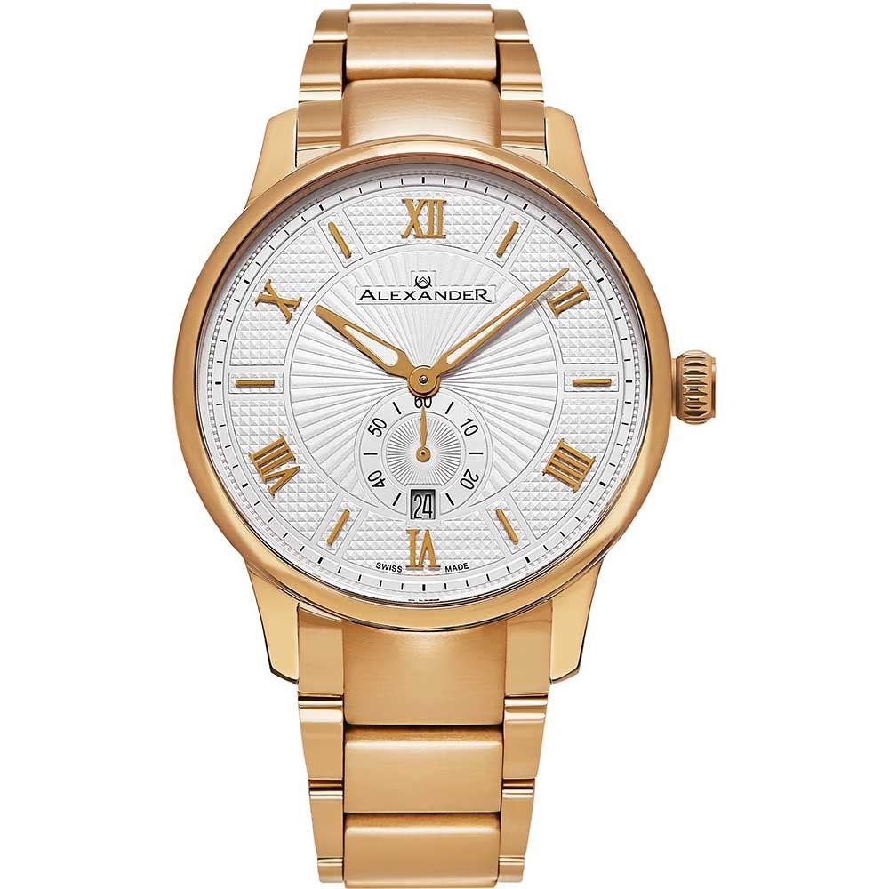 Alexander Mens Quartz Watch with Rose Gold Tone Stainless Steel Case on Rose Gold Tone Stainless Steel Bracelet, Silver-patterned Dial