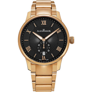 Alexander Mens Quartz Watch with Rose Gold Tone Stainless Steel Case on Rose Gold Tone Stainless Steel Bracelet, Black-patterned Dial