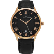 Load image into Gallery viewer, Alexander Mens Quartz Watch with Stainless Steel Rose Gold Tone Case on Black Embossed Genuine Leather Strap, Black-patterned Dial