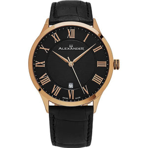 Alexander Mens Quartz Watch with Stainless Steel Rose Gold Tone Case on Black Embossed Genuine Leather Strap, Black-patterned Dial