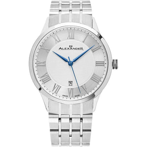 Alexander Mens Quartz Watch with Stainless Steel Case on Stainless Steel bracelet, Silver-patterned Dial