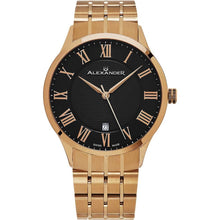 Load image into Gallery viewer, Alexander Mens Quartz Watch with Rose Gold Tone Stainless Steel Case on Rose Gold Tone Stainless Steel Bracelet, Black-patterned Dial
