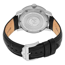 Load image into Gallery viewer, Alexander Mens Quartz Watch with Stainless Steel Case on Black Embossed Genuine Leather Strap, Black Dial