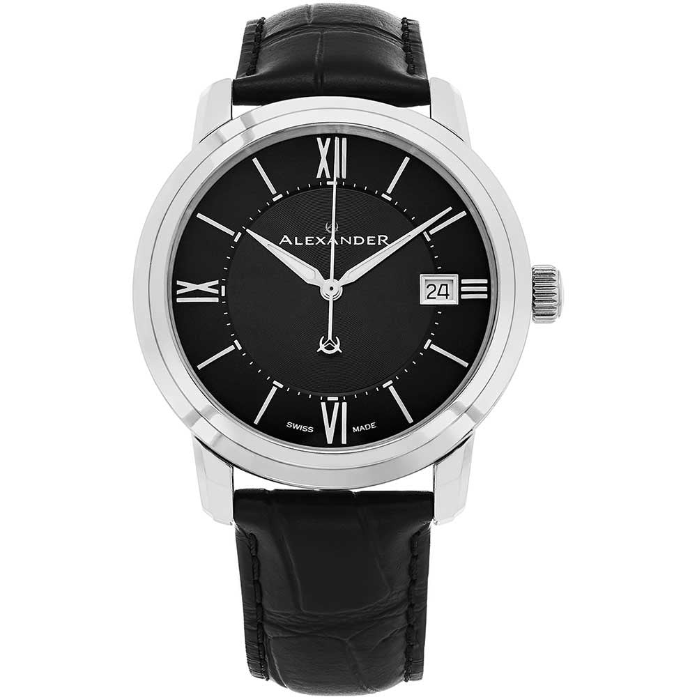 Alexander Mens Quartz Watch with Stainless Steel Case on Black Embossed Genuine Leather Strap, Black Dial