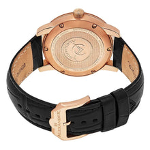 Load image into Gallery viewer, Alexander Mens Quartz Watch with Stainless Steel Rose Gold Tone Case on Black Embossed Genuine Leather Strap, Black Dial