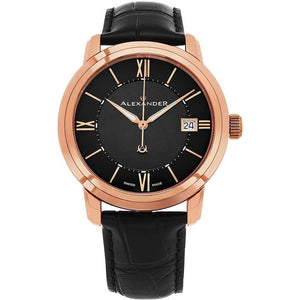Alexander Mens Quartz Watch with Stainless Steel Rose Gold Tone Case on Black Embossed Genuine Leather Strap, Black Dial
