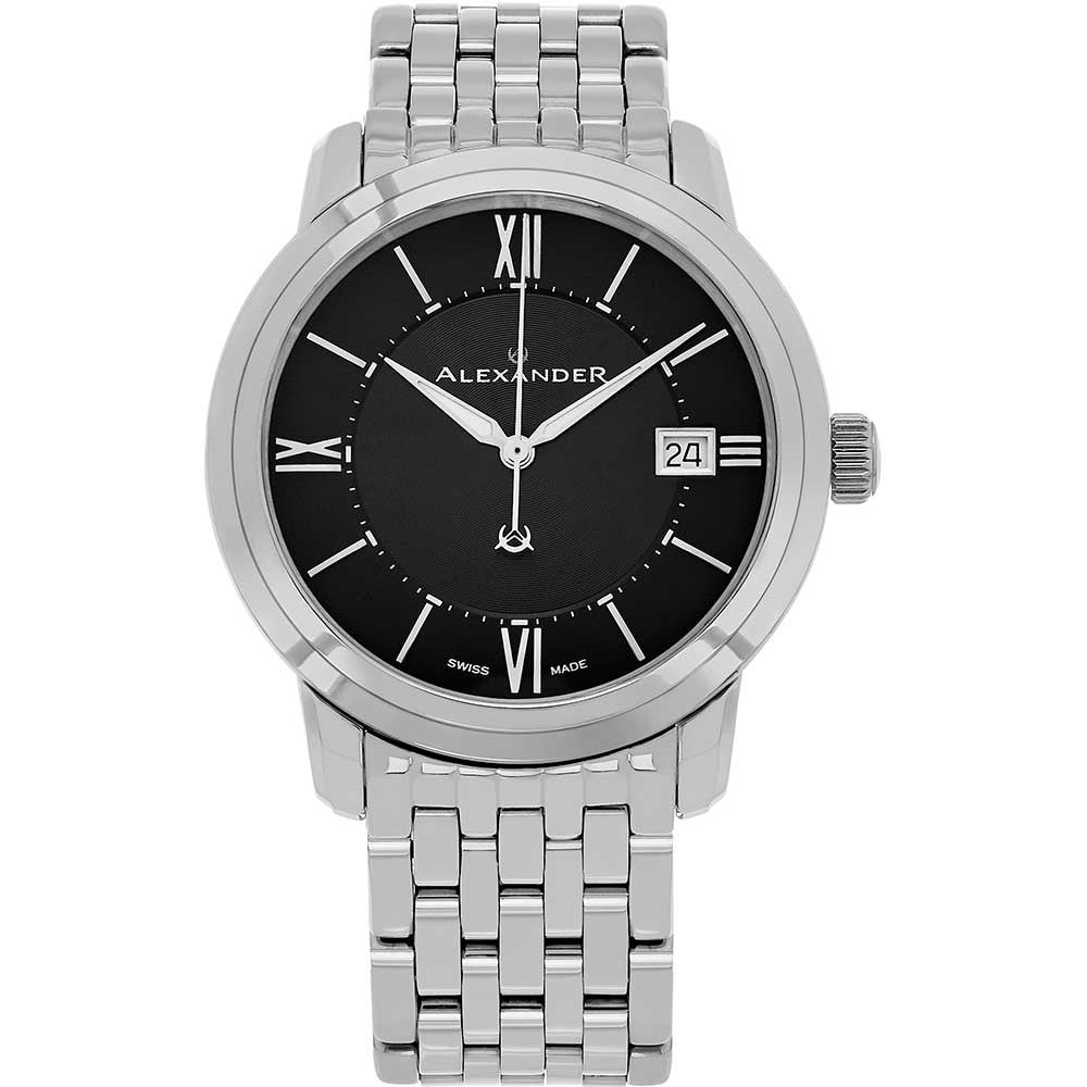 Alexander Mens Quartz Watch with Stainless Steel Case on Stainless Steel Bracelet, Black Dial