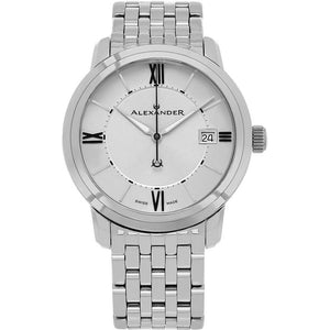 Alexander Mens Quartz Watch with Stainless Steel Case on Stainless Steel Bracelet, Silver Dial