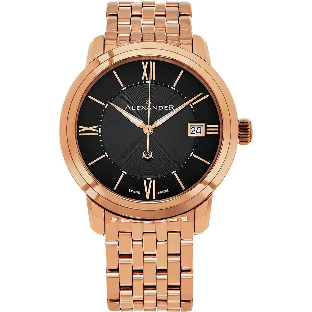 Alexander Mens Quartz Watch with Stainless Steel Rose Gold Tone Case on Stainless Steel Rose Gold Tone Bracelet, Black Dial
