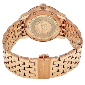 Alexander Mens Quartz Watch with Stainless Steel Rose Gold Tone Case on Stainless Steel Rose Gold Tone Bracelet, Silver Dial