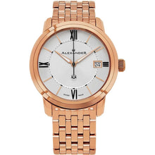 Load image into Gallery viewer, Alexander Mens Quartz Watch with Stainless Steel Rose Gold Tone Case on Stainless Steel Rose Gold Tone Bracelet, Silver Dial