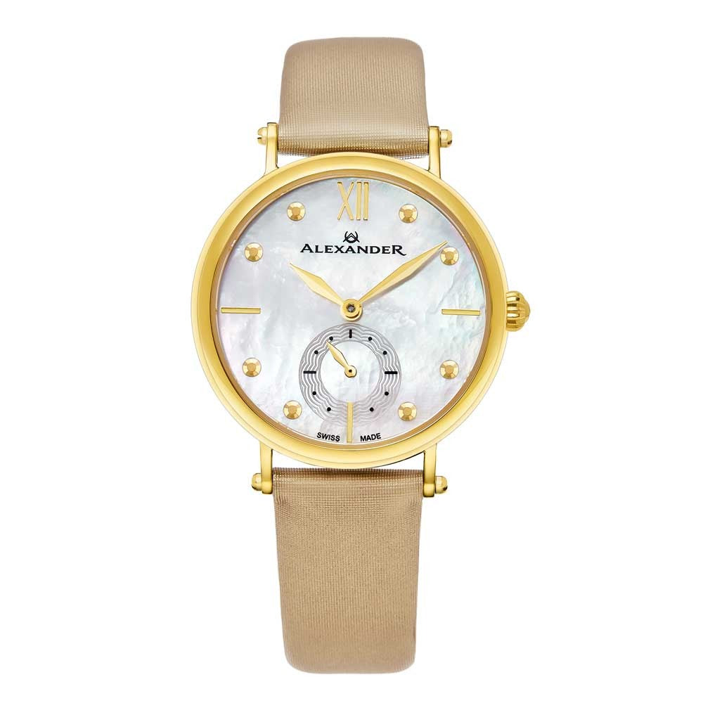 Alexander Roxana Swiss Quartz White Mother of Pearl Dial Gold Tone Case Women's Watch