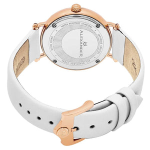 Alexander Roxana Swiss Quartz White Mother of Pearl Dial Rose Gold Tone Case Women's Watch
