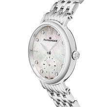 Load image into Gallery viewer, Alexander Ladies Quartz Small-second Watch with Stainless Steel Case on Stainless Steel Bracelet, White Mother-of-Pearl Dial