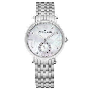 Alexander Ladies Quartz Small-second Watch with Stainless Steel Case on Stainless Steel Bracelet, White Mother-of-Pearl Dial