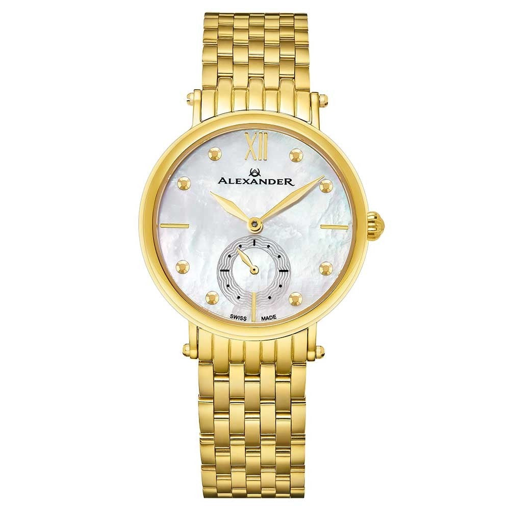 Alexander Ladies Quartz Small-second Watch with Yellow Gold Tone Stainless Steel Case on Yellow Gold Tone Stainless Steel Bracelet, White Mother-of-Pearl Dial