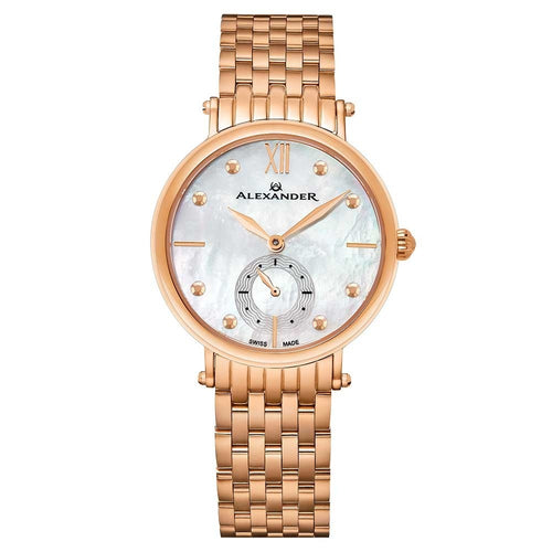 Alexander Ladies Quartz Small-second Watch with Rose Gold Tone Stainless Steel Case on Rose Gold Tone Stainless Steel Bracelet, White Mother-of-Pearl Dial