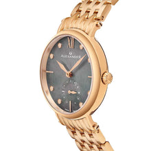Load image into Gallery viewer, Alexander Ladies Quartz Small-second Watch with Rose Gold Tone Stainless Steel Case on Rose Gold Tone Stainless Steel Bracelet, Black Mother-of-Pearl Dial