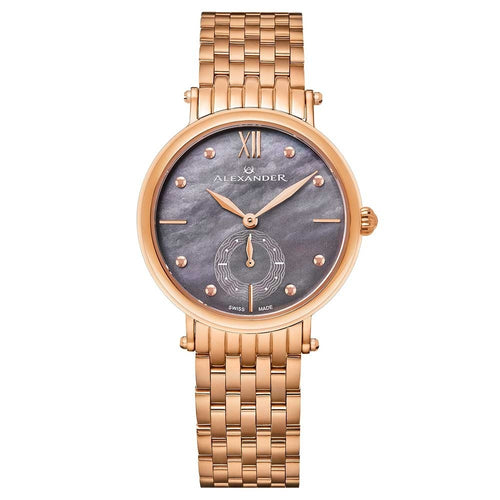 Alexander Ladies Quartz Small-second Watch with Rose Gold Tone Stainless Steel Case on Rose Gold Tone Stainless Steel Bracelet, Black Mother-of-Pearl Dial