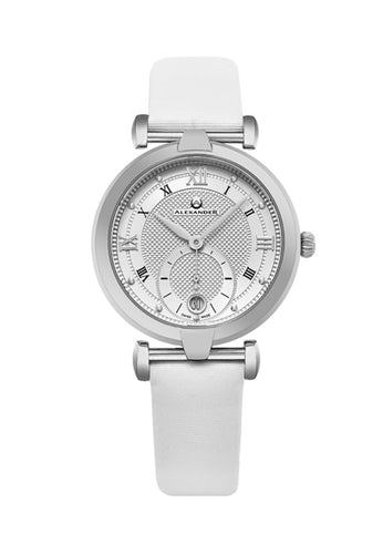 Alexander Olympias Swiss Quartz Stainless Steel Case White Satin Strap Women's Watch