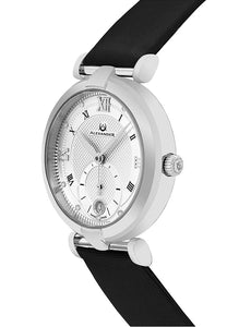 Alexander Olympias Swiss Quartz Stainless Steel Case Black Satin Strap Women's Watch