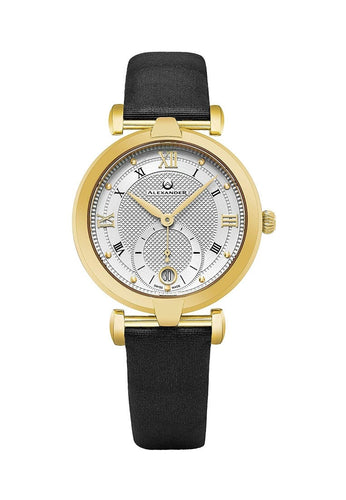 Alexander Olympias Swiss Quartz Yellow Gold Tone Stainless Steel Case Black Satin Strap Women's Watch