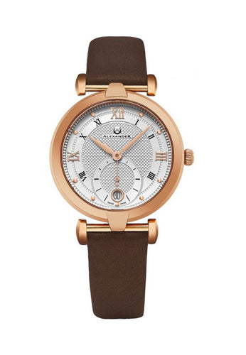 Alexander Olympias Swiss Quartz Rose Gold Tone Stainless Steel Case Brown Satin Strap Women's Watch