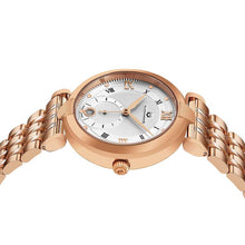 Load image into Gallery viewer, Alexander Ladies Quartz Small-second Date Watch with Rose Gold Tone Stainless Steel Case on Rose Gold Tone Stainless Steel Bracelet, Silver Dial