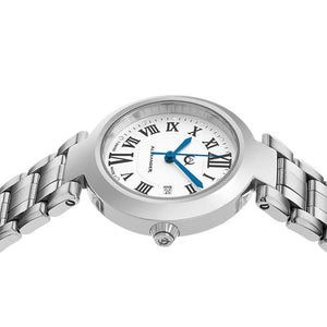 Alexander Ladies Quartz Small-second Date Watch with Stainless Steel Case on Stainless Steel Bracelet, Silver Dial