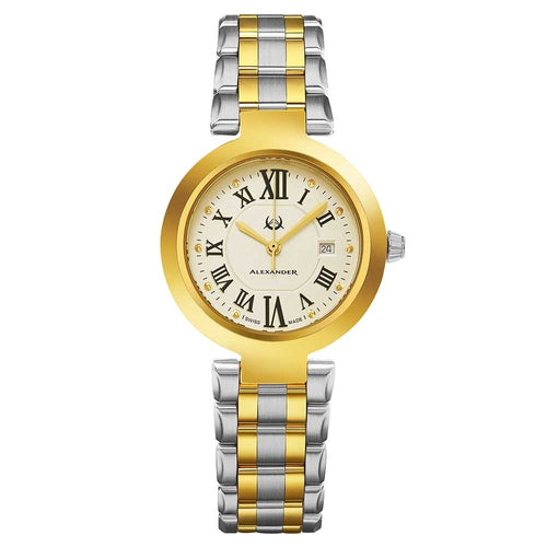 Alexander Ladies Quartz Small-second Date Watch with Yellow Gold Tone Stainless Steel Case on Yellow Gold Tone Stainless Steel and Stainless Steel Bracelet, Silver Dial