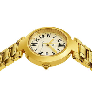 Alexander Ladies Quartz Small-second Date Watch with Yellow Gold Tone Stainless Steel Case on Yellow Gold Tone Stainless Steel Bracelet, Silver Dial