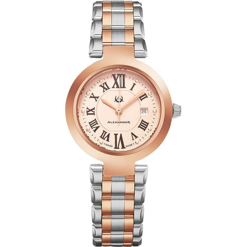 Alexander Ladies Quartz Small-second Date Watch with Rose Gold Tone Stainless Steel Case on Rose Gold Tone Stainless Steel and Stainless Steel Bracelet, Silver Dial
