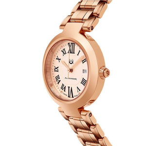 Alexander Ladies Quartz Small-second Date Watch with Rose Gold Tone Stainless Steel Case on Rose Gold Tone Stainless Steel Bracelet, Silver Dial