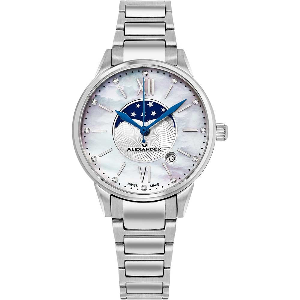 Alexander Ladies Quartz Moonphase Date Watch with Stainless Steel Case on Stainless Steel Bracelet, Silver Dial