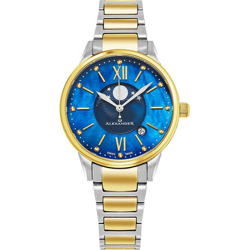 Alexander Ladies Quartz Moonphase Date Watch with Yellow Gold Tone Stainless Steel Case on Yellow Gold Tone Stainless Steel and Stainless Steel Bracelet, Blue Dial