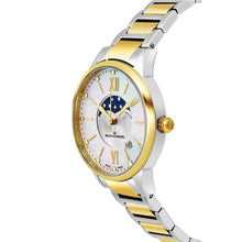 Load image into Gallery viewer, Alexander Ladies Quartz Moonphase Date Watch with Yellow Gold Tone Stainless Steel Case on Yellow Gold Tone Stainless Steel and Stainless Steel Bracelet, Silver Dial