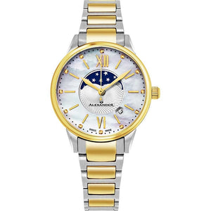 Alexander Ladies Quartz Moonphase Date Watch with Yellow Gold Tone Stainless Steel Case on Yellow Gold Tone Stainless Steel and Stainless Steel Bracelet, Silver Dial