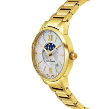 Load image into Gallery viewer, Alexander Ladies Quartz Moonphase Date Watch with Yellow Gold Tone Stainless Steel Case on Yellow Gold Tone Stainless Steel Bracelet, Silver Dial