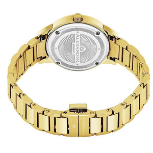 Alexander Ladies Quartz Moonphase Date Watch with Yellow Gold Tone Stainless Steel Case on Yellow Gold Tone Stainless Steel Bracelet, Silver Dial