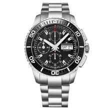 Load image into Gallery viewer, Alexander Mens Automatic Chronograph Watch with Stainless Steel and Black PVD Case on Stainless Steel Bracelet, Black Dial
