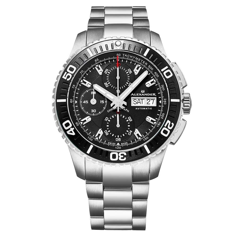 Alexander Mens Automatic Chronograph Watch with Stainless Steel and Black PVD Case on Stainless Steel Bracelet, Black Dial