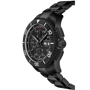 Alexander Mens Automatic Chronograph Watch with Black PVD Stainless Steel Case on Black PVD Stainless Steel Bracelet, Black Dial