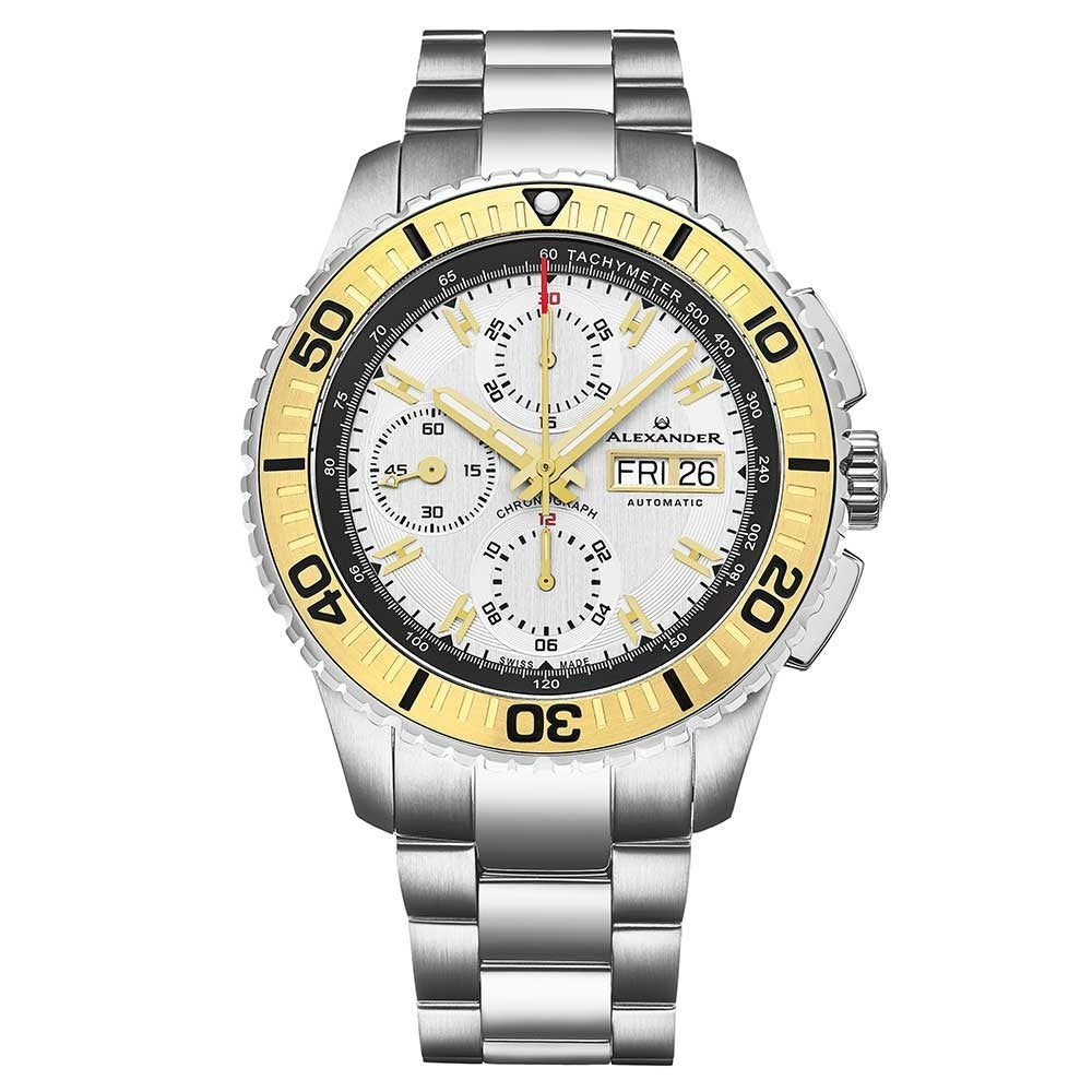 Alexander Mens Automatic Chronograph Watch with Stainless Steel and Yellow Gold PVD Case on Stainless Steel Bracelet, White Dial