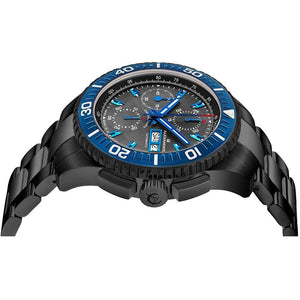 Alexander Mens Automatic Chronograph Watch with Black and Blue PVD Stainless Steel Case on Black PVD Stainless Steel Bracelet, Black Dial