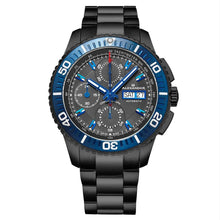 Load image into Gallery viewer, Alexander Mens Automatic Chronograph Watch with Black and Blue PVD Stainless Steel Case on Black PVD Stainless Steel Bracelet, Black Dial