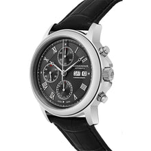 Load image into Gallery viewer, Alexander Mens Automatic Chronograph Watch with Stainless Steel Case on Black leather strap, Black Dial