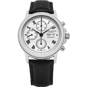 Alexander Mens Automatic Chronograph Watch with Stainless Steel Case on Black leather strap, Silver Dial