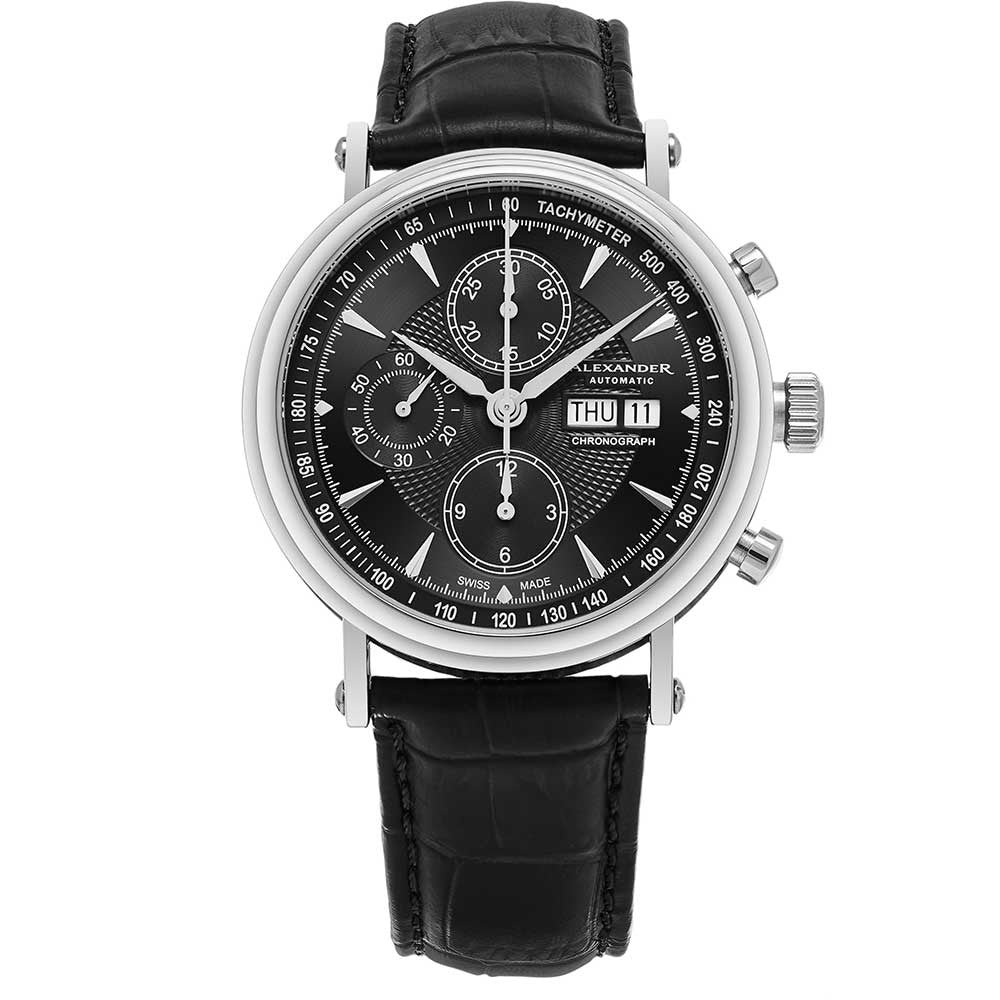 Alexander Mens Automatic Chronograph Watch with Stainless Steel Case on Black leather strap, Black Dial